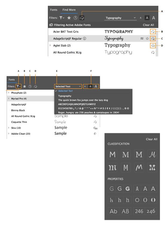 Adobe Fonts Options
