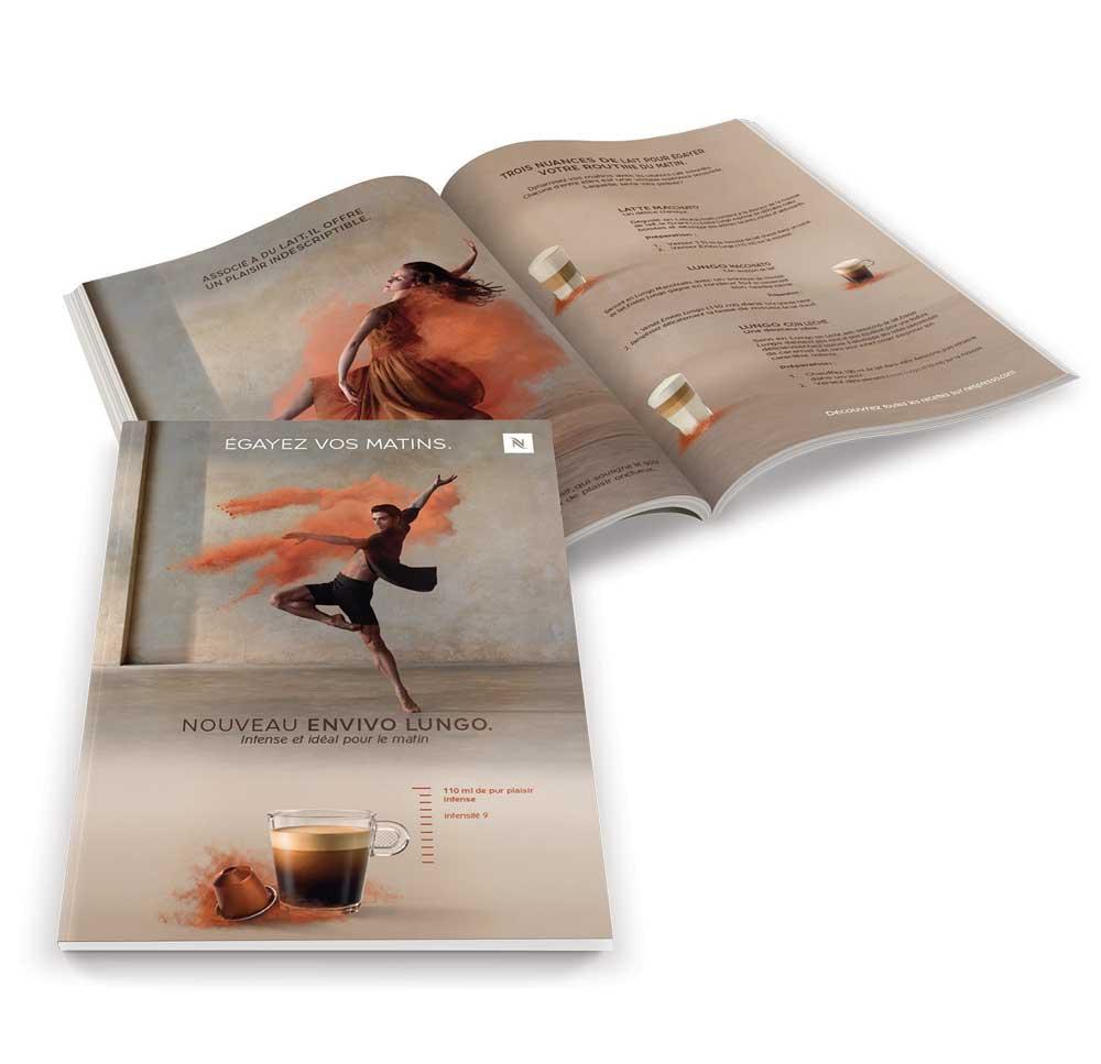 Menu brochure packaging et affichage pour Nespresso